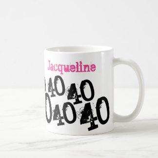 Personalized 40th Birthday Pink Classic White Coffee Mug