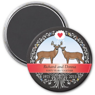 Personalized 40th Wedding Anniversary, Buck & Doe 3 Inch Round Magnet