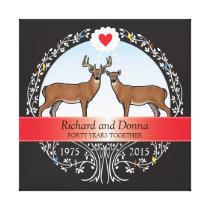 Personalized 40th Wedding Anniversary, Buck & Doe Canvas Print