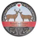 Personalized 40th Wedding Anniversary, Buck & Doe Melamine Plate