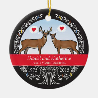 Personalized 40th Wedding Anniversary, Buck & Doe Christmas Ornament