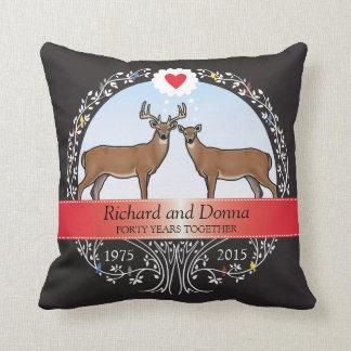 Personalized 40th Wedding Anniversary, Buck & Doe Throw Pillow