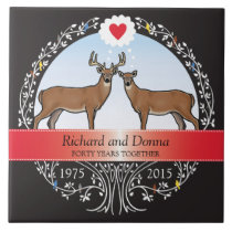 Personalized 40th Wedding Anniversary, Buck & Doe Tile