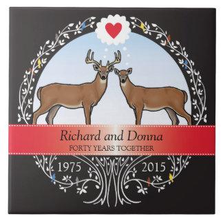 Personalized 40th Wedding Anniversary, Buck & Doe Ceramic Tile