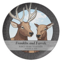 Personalized 40th Wedding Anniversary, Elk Dinner Plate