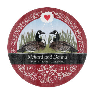 Personalized 40th Wedding Anniversary, Geese Cutting Board