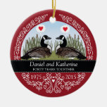 Personalized 40th Wedding Anniversary, Geese Double-Sided Ceramic Round Christmas Ornament