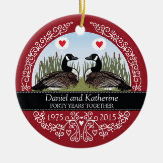 Personalized 40th Wedding Anniversary, Geese Christmas Ornaments