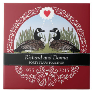 Personalized 40th Wedding Anniversary, Geese Tile