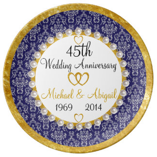 Personalized 45th Anniversary Porcelain Plate