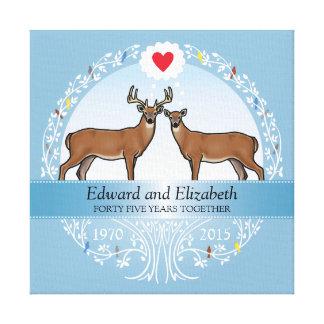 Personalized 45th Wedding Anniversary, Buck & Doe Canvas Print