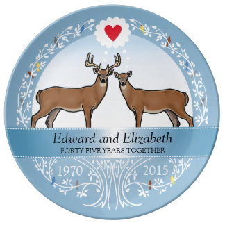 Personalized 45th Wedding Anniversary, Buck & Doe Porcelain Plate