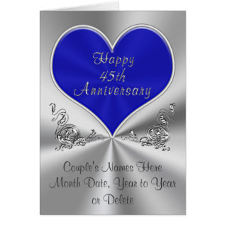 Personalized 45th Wedding Anniversary Card at Zazzle