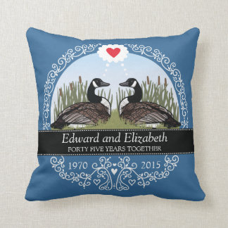 Personalized 45th Wedding Anniversary, Geese Throw Pillow