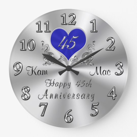 Personalized 45th Wedding Anniversary Gifts Clock