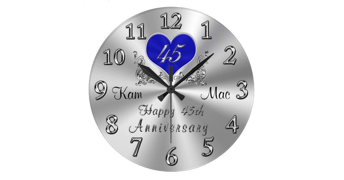 Personalized 45th Wedding Anniversary Gifts Clock Zazzle