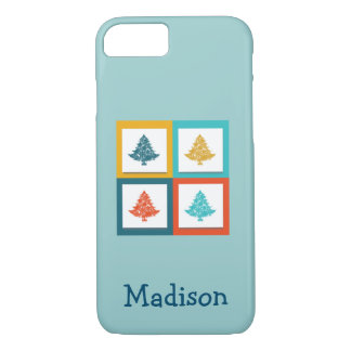 Personalized 4 Christmas Trees Retro Design iPhone 7 Case