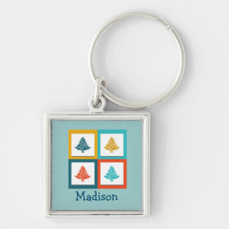 Personalized 4 Christmas Trees Retro Design Keychain