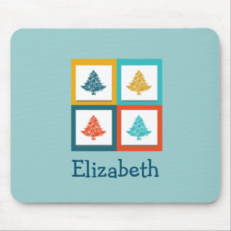 Personalized 4 Christmas Trees Retro Design Mouse Pad