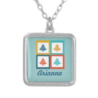 Personalized 4 Christmas Trees Retro Design Square Pendant Necklace