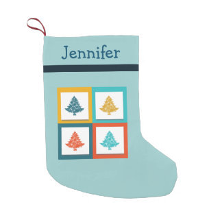 Personalized 4 Christmas Trees Retro Design Small Christmas Stocking