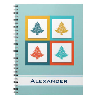 Personalized 4 Christmas Trees Retro Design Spiral Notebook