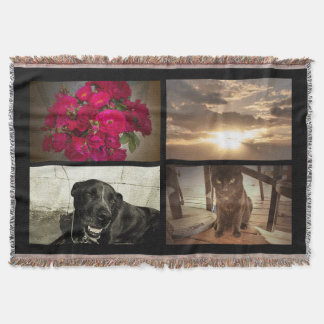 Personalized 4 Color Photo Mosaic Picture Collage Throw Blanket
