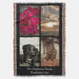 Personalized 4 Color Photo Vertica Picture Collage Throw Blanket