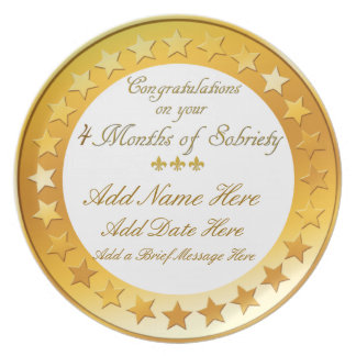 Personalized 4 months Sobriety Display Plate