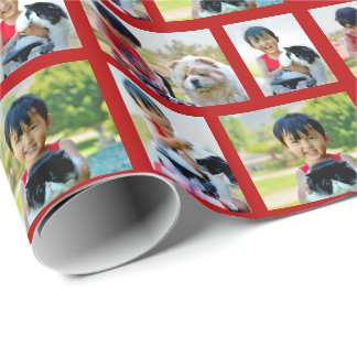 Personalized 4 Photo Collage Custom Christmas Wrapping Paper