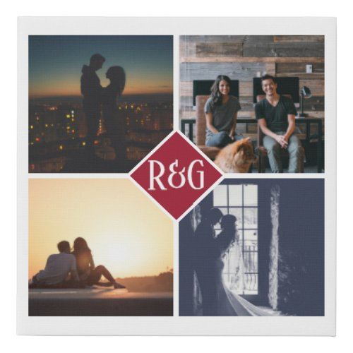 Personalized 4 Photo Collage Monogram Red Faux Canvas Print