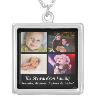 Personalized 4 Photo Collage Necklace Black w/Text