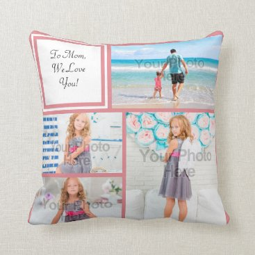 Personalized 4 Photo Collage Pink Mom Love Throw Pillow