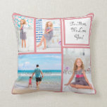Personalized 4 Photo Collage Pink Mom/Love Throw Pillow
