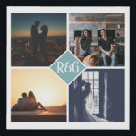 """Personalized 4 Photo Monogram Teal Faux Canvas Print<br><div class=""""desc"""">Teal green - Personalized 4 Photo Monogram keepsake wall art - Faux Wrapped Canvas Print from Ricaso - add your own photos and monogrammed text - photo collage keepsake gifts</div>"""