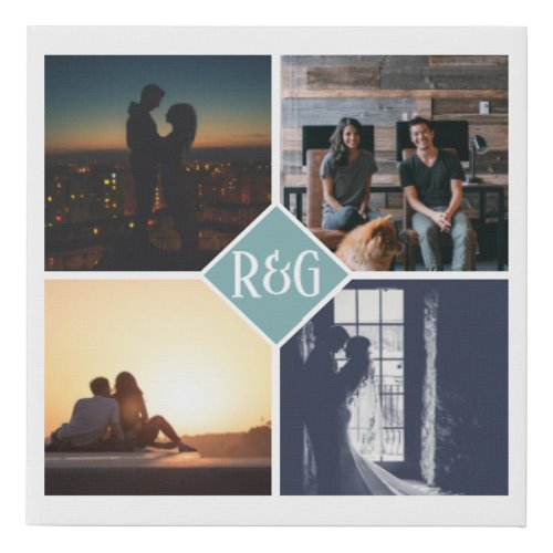 Personalized 4 Photo Monogram Teal Faux Canvas Print