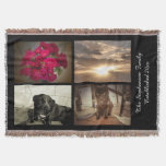 Personalized 4 Photo Text Mosaic Picture Collage Throw Blanket