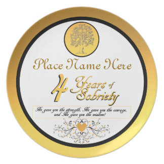 Personalized 4 Years of Sobriety Anniversary Plate