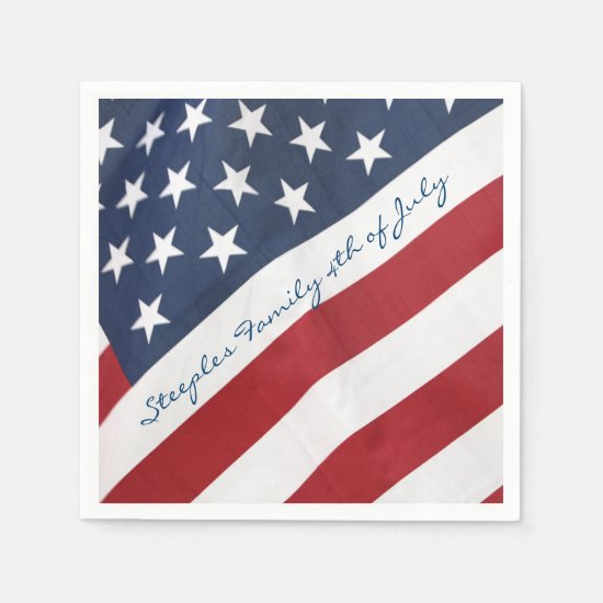 Personalized 4th of July American Flag Napkin