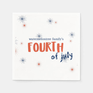 Personalized 4th of July Fireworks Paper Napkins