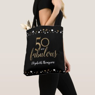 Personalized 50 and fabulous gold black confetti tote bag