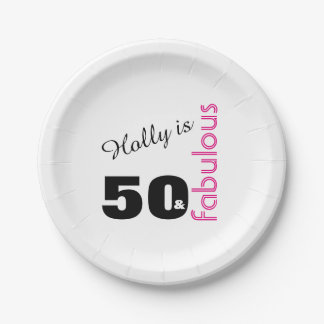 Personalized 50 and Fabulous Themed 50th Birthday Paper Plate