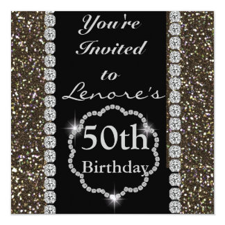 PERSONALIZED 50 th Birthday Invitation BLING
