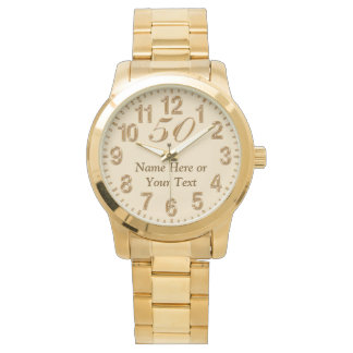 Personalized 50 Year Gold Watch for Men and Women