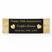 Personalized 50th Anniversary Banner, Black, Gold Banner