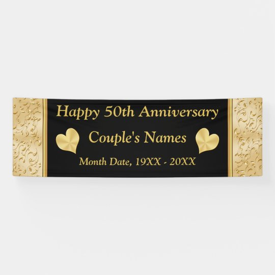 personalized 50th anniversary banner black gold banner zazzle com