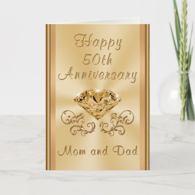 Personalised 50th GOLDEN Wedding Anniversary For Mum and Dad For Parents /& Card