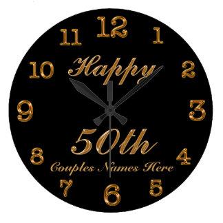 PERSONALIZED 50th Anniversary Clock Change Black Wall Clocks