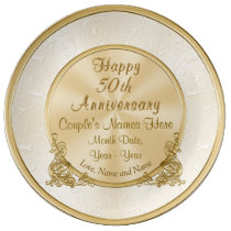Personalized 50th Anniversary Gift, 3 Text Boxes Dinner Plate