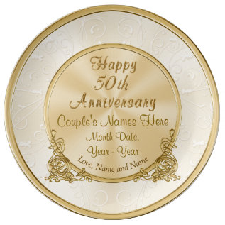 Personalized 50th Anniversary Gift, 3 Text Boxes Dinner Plate at Zazzle